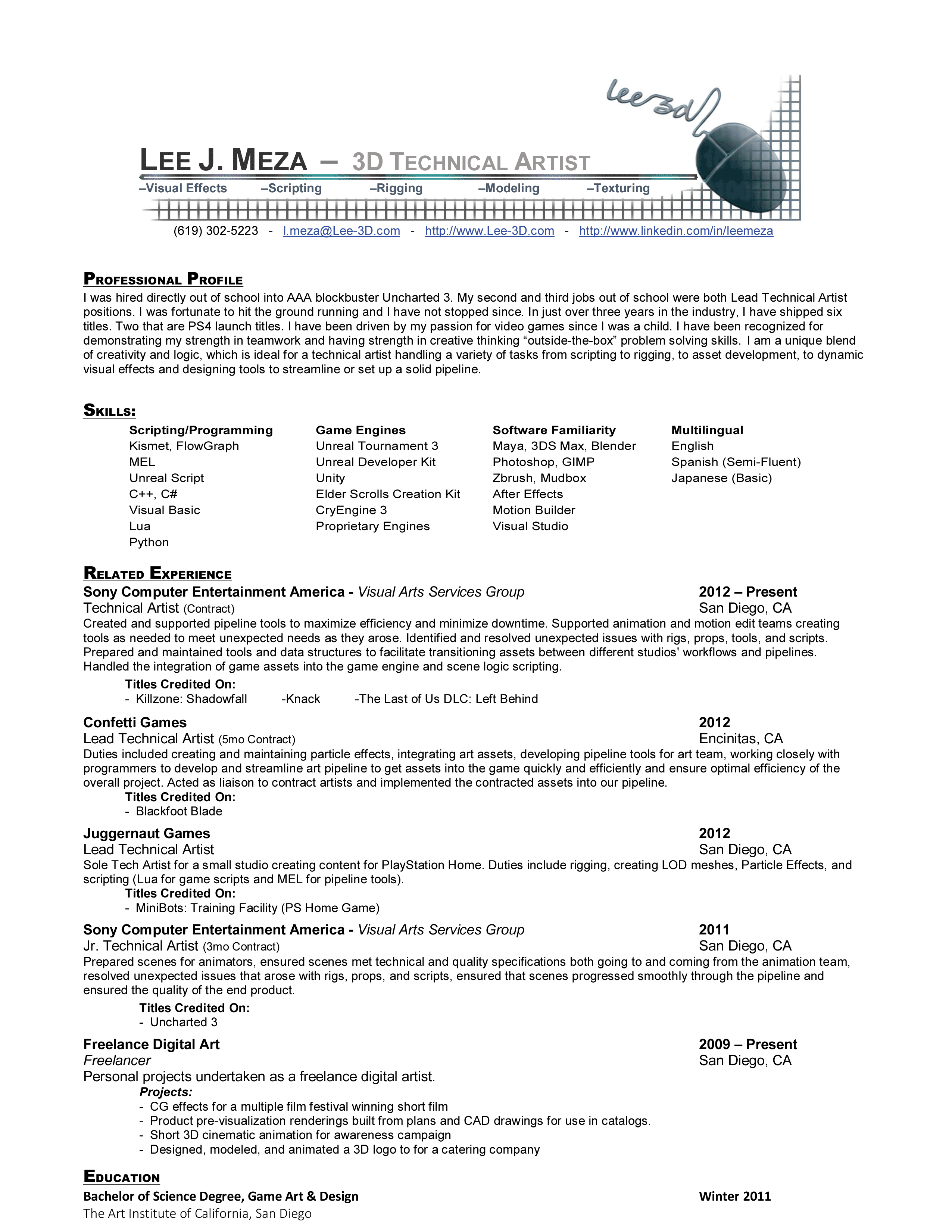 Lee J Meza 3d Technical Artist Resume